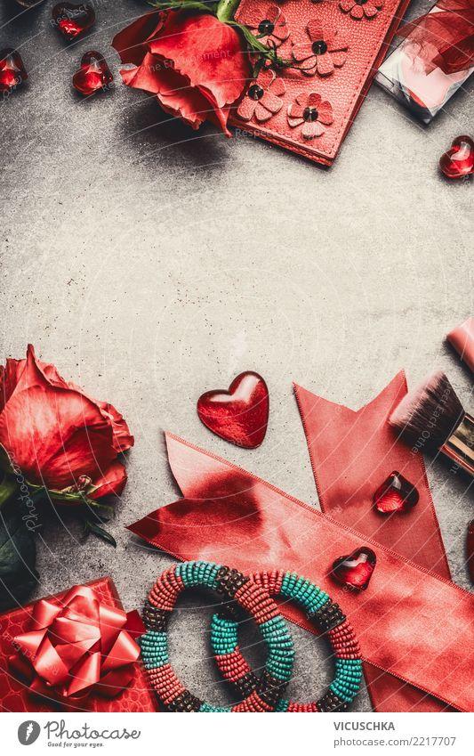 Valentinstag Hintergund Rahmen mit rot Rosen Stil Design Feste & Feiern Blume Dekoration & Verzierung Blumenstrauß Liebe Hintergrundbild Symbole & Metaphern