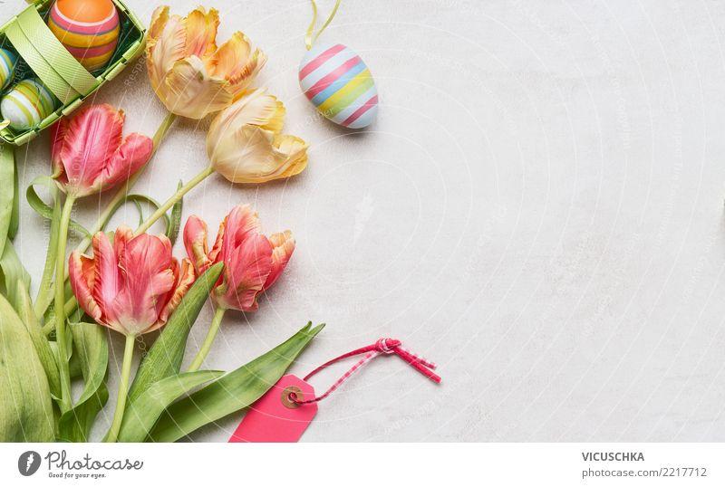 Ostern Hintergrund mit Tulpen Stil Design Feste & Feiern Pflanze Dekoration & Verzierung Blumenstrauß Zeichen rosa Tradition Hintergrundbild Symbole & Metaphern