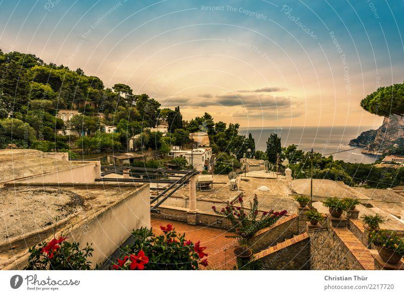 Sizilien taormina Umwelt Natur Landschaft Wolken Sonnenlicht Sommer Herbst Schönes Wetter Baum Blume Sträucher Garten Hügel Meer Insel Taormina Italien Dorf