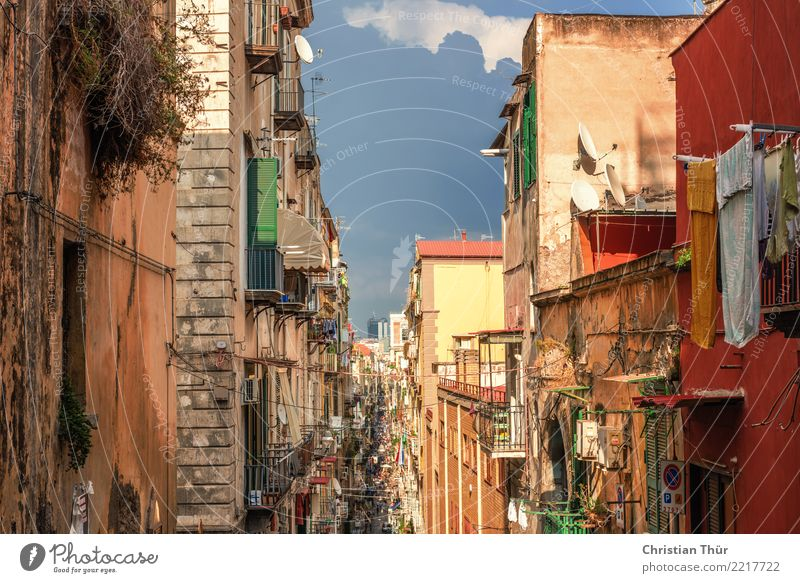 Strassen von Neapel Ferien & Urlaub & Reisen Sommer Stadt Erholung Haus Straße Architektur Wand Wege & Pfade Gebäude Mauer Tourismus Fassade Ausflug Abenteuer