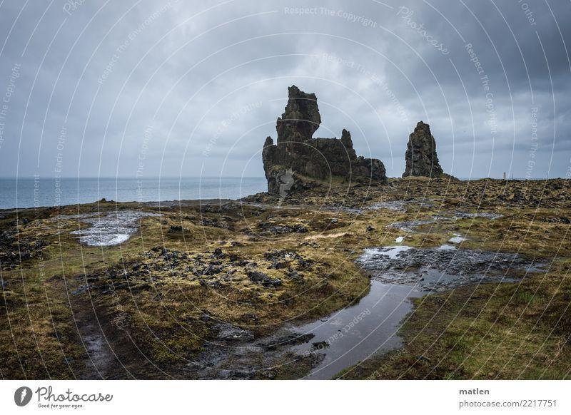 Londrangar Natur Landschaft Wasser Himmel Wolken Frühling Wetter schlechtes Wetter Regen Gras Felsen Küste Meer Leuchtturm gigantisch braun grau Island