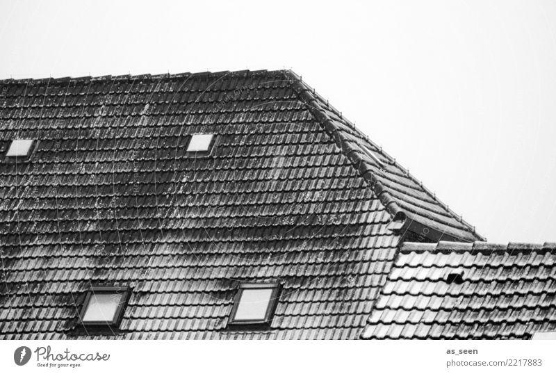 Erster Schnee Haus Weihnachten & Advent Umwelt Winter Klima Wetter schlechtes Wetter Eis Frost Schneefall Gebäude Fenster Dach Dachziegel Dachfenster