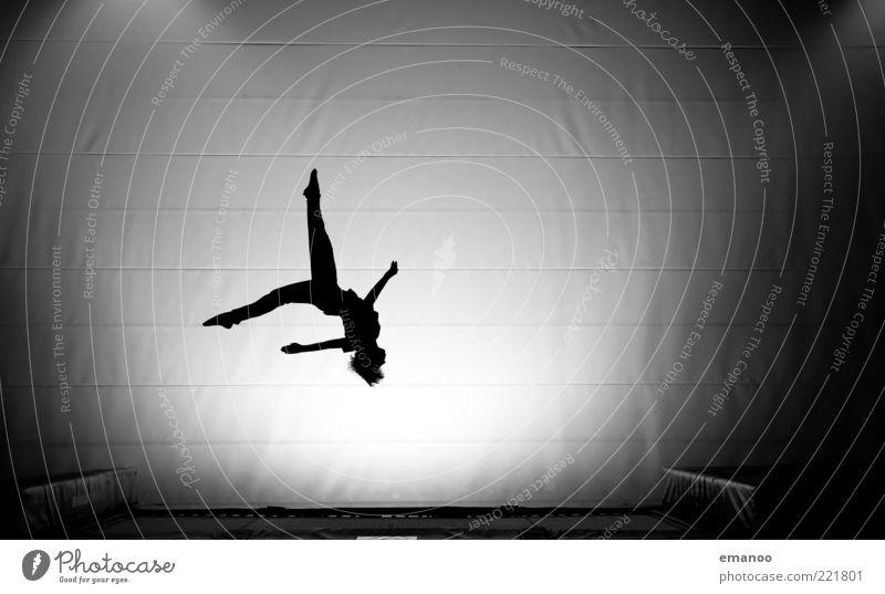 Silhouette 3 Sport Fitness Sport-Training Sportler Mensch Jugendliche Körper 1 Bewegung drehen fliegen springen sportlich elegant schwarz weiß Kraft Mut