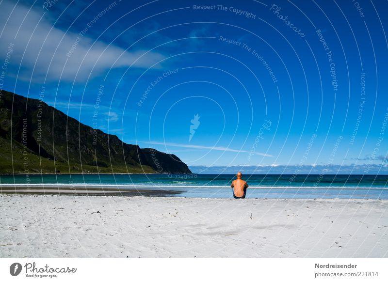 Nach Island gucken Mann Meer Sommer Strand Ferien & Urlaub & Reisen ruhig Einsamkeit Ferne Erholung Stil Freiheit Zufriedenheit Stimmung Erwachsene maskulin
