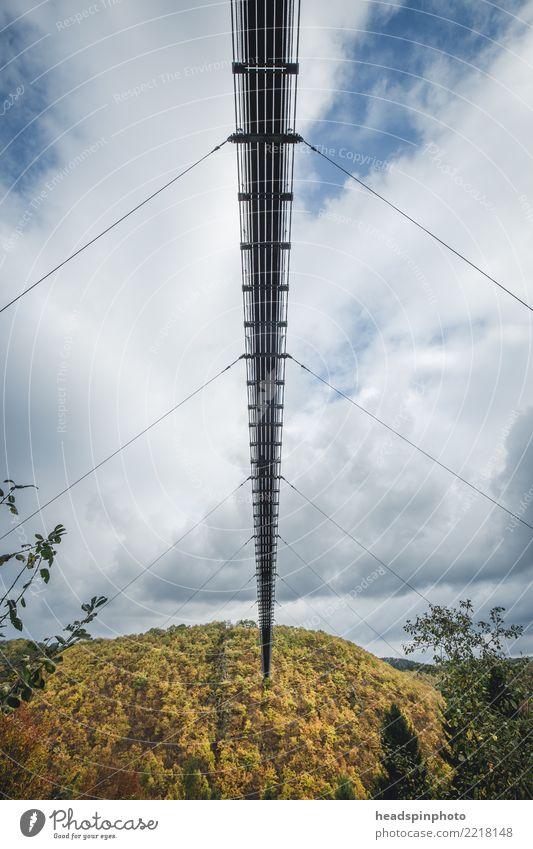 Unterseite der Geierlay Hängebrücke im Herbst Himmel Natur Ferien & Urlaub & Reisen blau Landschaft Wolken Wald Berge u. Gebirge Tourismus Freiheit Deutschland