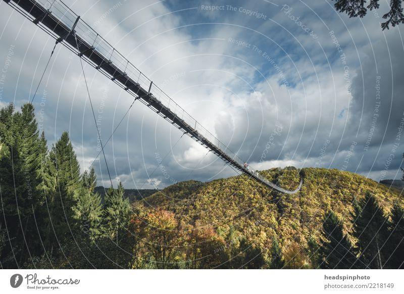 Seitenansicht der Geierlay Hängebrücke im Herbst Natur Ferien & Urlaub & Reisen Landschaft Wolken Berge u. Gebirge Umwelt Tourismus Freiheit Deutschland Ausflug