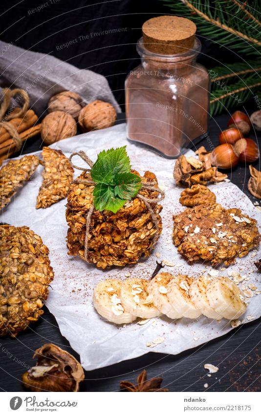 Kekse aus Haferflocken und Bananen weiß Essen natürlich Gesundheitswesen braun Ernährung Energie lecker Bioprodukte Frühstück Tradition Dessert Backwaren