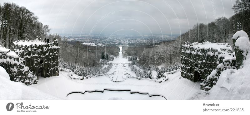Kasseler Herkules-Kaskaden im Winter Umwelt Natur Landschaft Urelemente Wolken Horizont Klima Wetter schlechtes Wetter Eis Frost Schnee Pflanze Baum Park Wald
