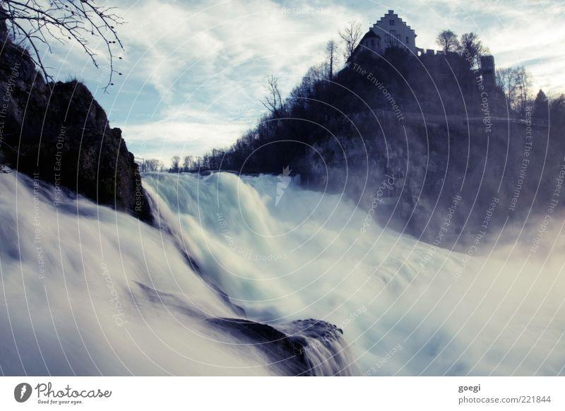 So ein Rheinfall Natur Urelemente Wasser Wassertropfen Himmel Wolken Herbst Schönes Wetter Baum Hügel Flussufer Wasserfall Schaffhausen Haus Burg oder Schloss