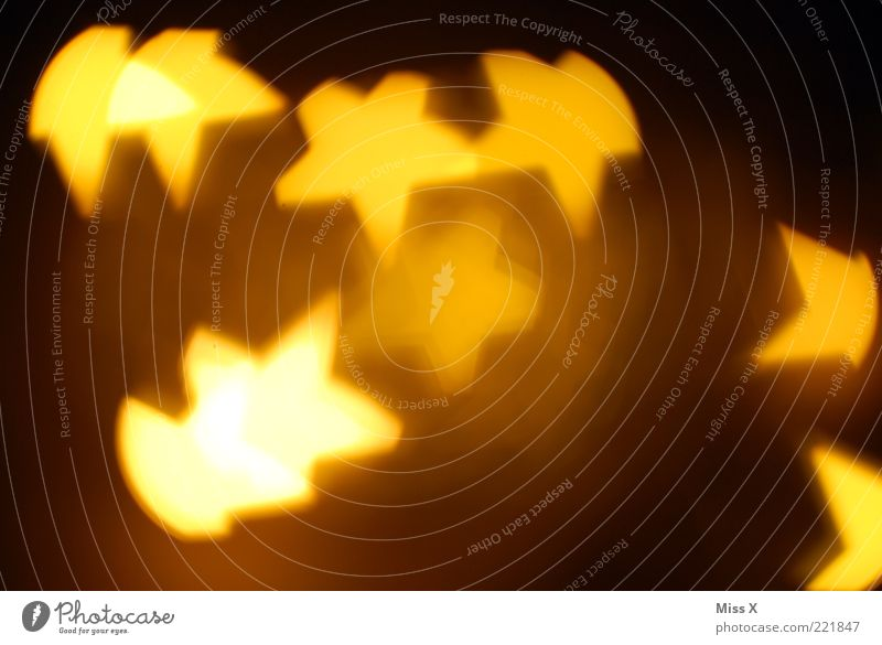 Sterne Weihnachten & Advent gelb Lampe Beleuchtung gold glänzend Stern (Symbol) leuchten Langzeitbelichtung Weihnachtsbeleuchtung