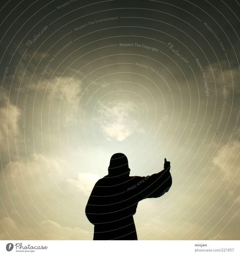Thank god its friday |LIKE! Mensch Himmel Mann grün Wolken Erwachsene oben Religion & Glaube Wetter Arme maskulin gut Kommunizieren Glaube Statue positiv
