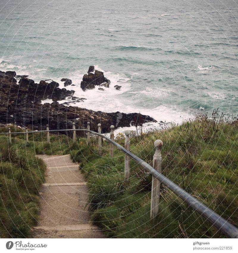 downwards Umwelt Natur Landschaft Urelemente Wasser Wind Sturm Pflanze Gras Felsen Wellen Küste Meer Insel abwärts Treppe Treppengeländer Kurve Gischt Brandung