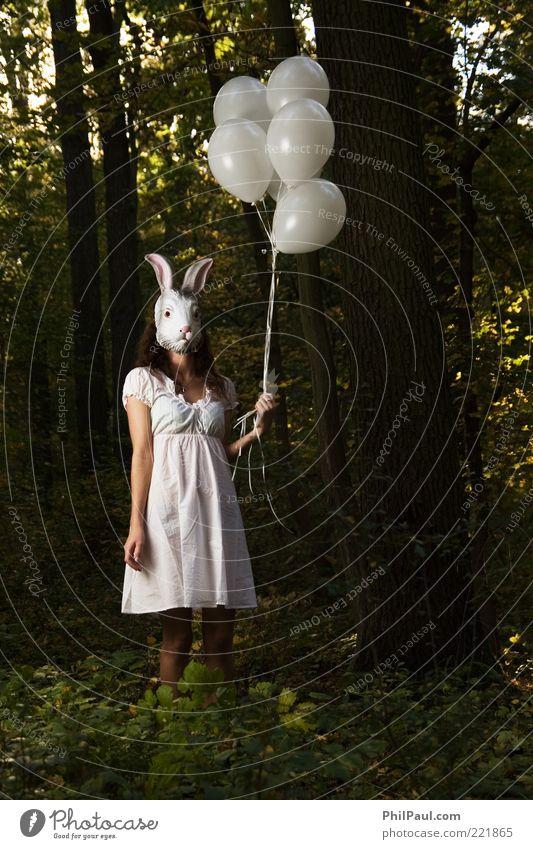 Follow the white rabbit Frau Mensch Natur Jugendliche Baum Gesicht Wald feminin Erwachsene Luftballon stehen Kleid Maske beobachten Karneval geheimnisvoll