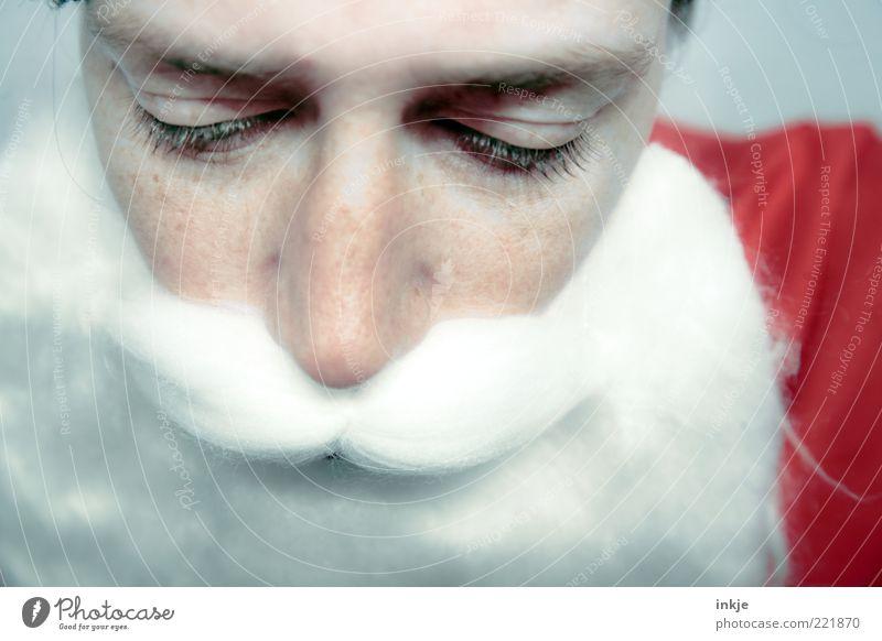 sad santa Weihnachten & Advent Einsamkeit ruhig Gesicht Erwachsene Gefühle Traurigkeit Stimmung Feste & Feiern Wandel & Veränderung Wunsch Kultur Maske Weihnachtsmann Glaube Bart