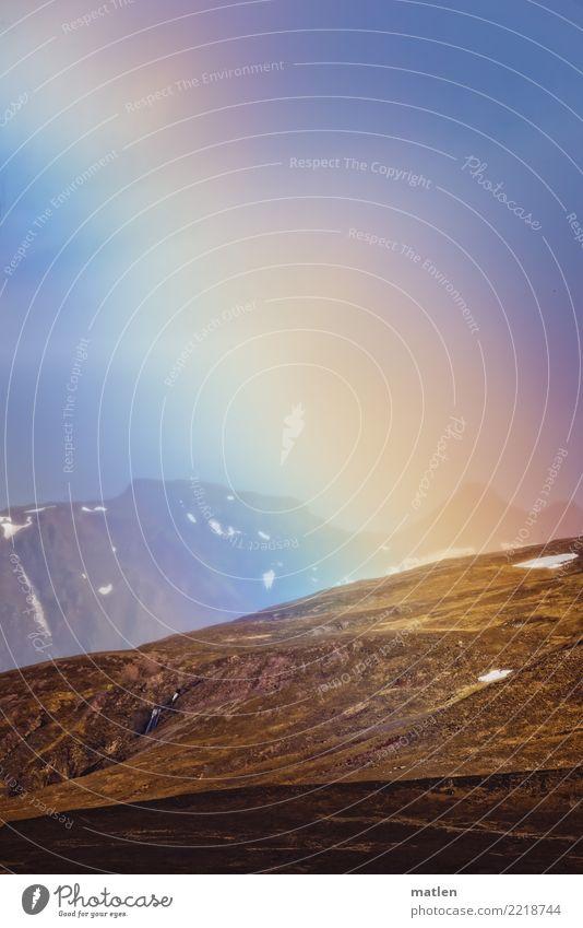 rainbow Natur Landschaft Pflanze Luft Wasser Himmel Wolkenloser Himmel Frühling Schönes Wetter Gras Berge u. Gebirge Schneebedeckte Gipfel blau braun mehrfarbig