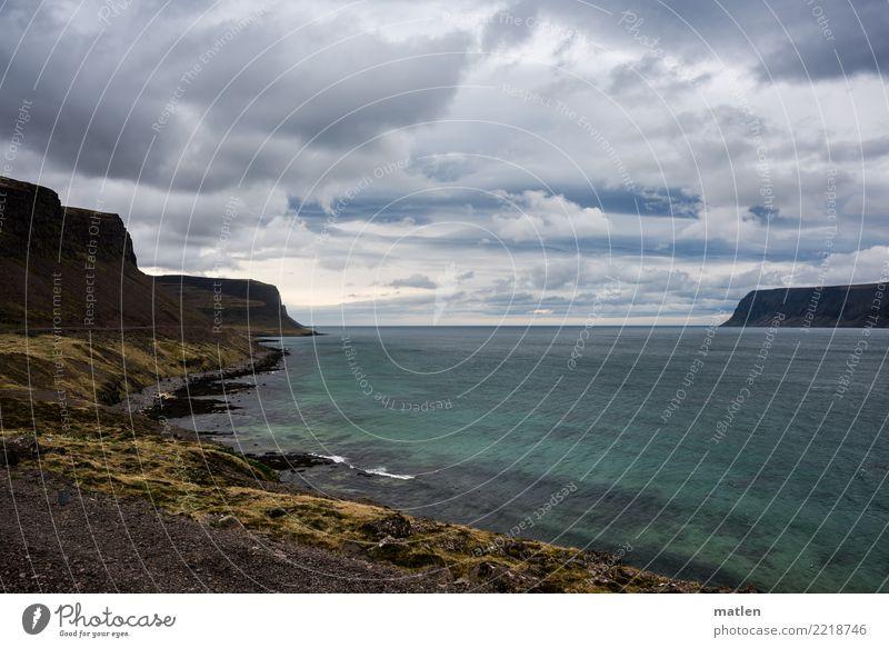 Götterdämmerung Natur Landschaft Pflanze Wasser Himmel Wolken Gewitterwolken Horizont Frühling Schönes Wetter Wind Gras Moos Felsen Berge u. Gebirge Küste Bucht