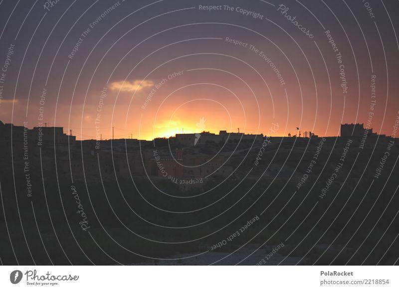 #A# close to night Kunst ästhetisch Marokko Abenddämmerung Sonnenuntergang Stadt Horizont Farbfoto mehrfarbig Außenaufnahme Experiment Menschenleer
