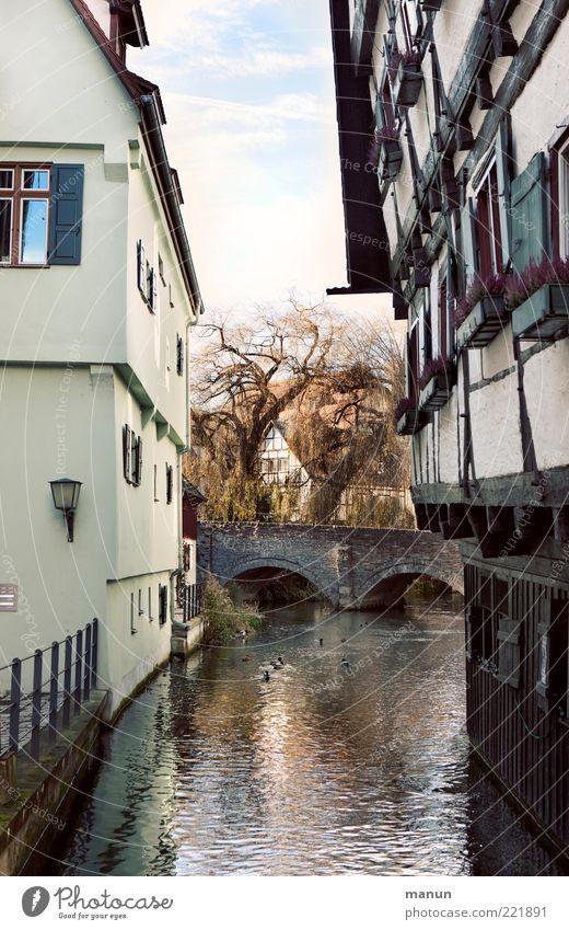 Schiefes Haus (LT Ulm 14.11.10) schön Stadt Ferien & Urlaub & Reisen ruhig Architektur Gebäude Fassade Brücke authentisch Fluss Kultur Bauwerk Flussufer