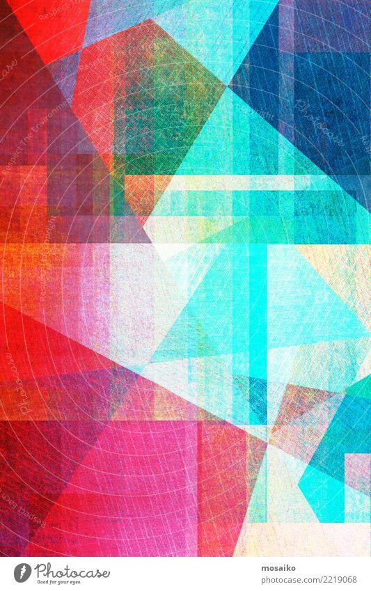 geometrischer Grafikhintergrund blau Farbe schön grün rot Stil Kunst Stein rosa Design Linie hell retro Dekoration & Verzierung modern Geschenk