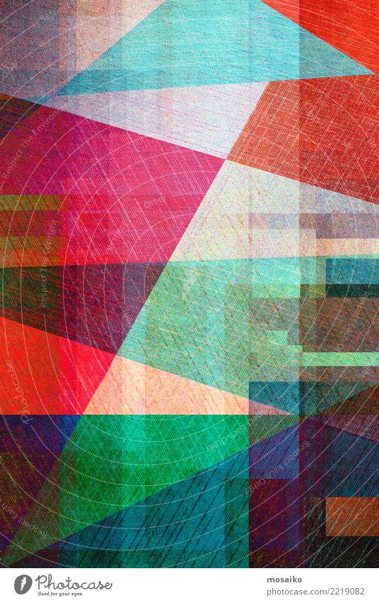 Geometrische Formen Lifestyle elegant Stil Design Freude Freizeit & Hobby Kunst Linie Streifen ästhetisch trendy retro trashig blau grün rot schwarz Entwurf