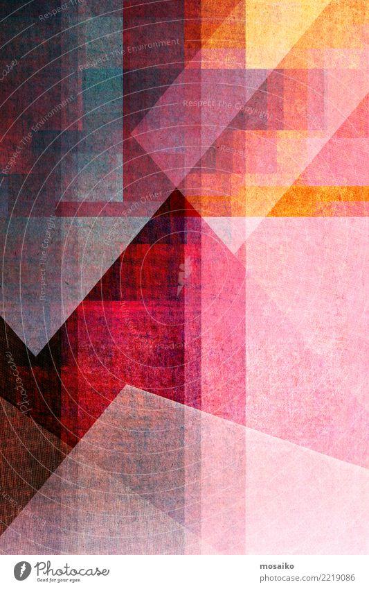 Geometrische Formen Freude gelb Lifestyle Hintergrundbild Stil Kunst Business außergewöhnlich Party orange rosa Design Freizeit & Hobby Linie retro elegant