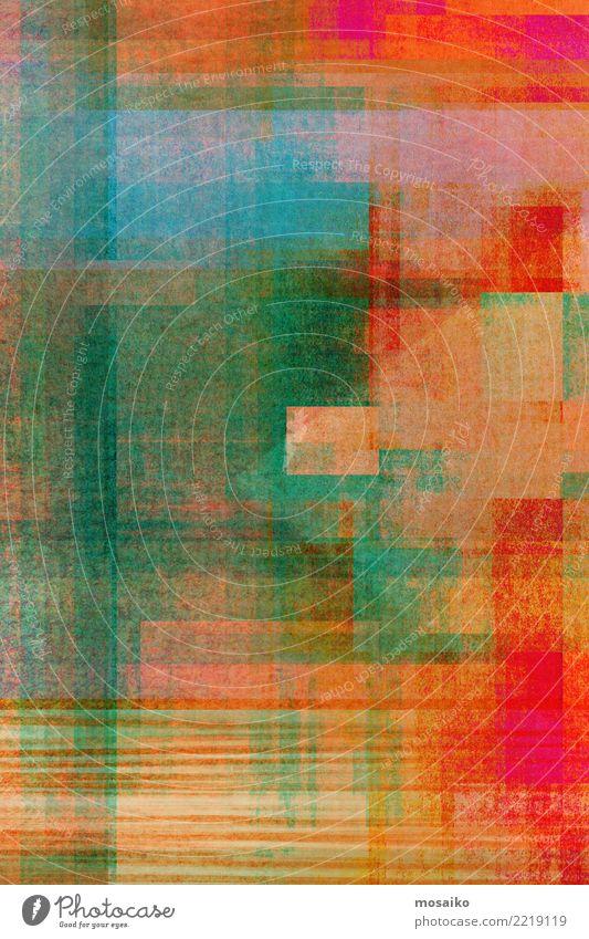 Geometrische Formen rot gelb Lifestyle Hintergrundbild Stil Kunst braun rosa orange Design retro elegant malen Grafik u. Illustration Streifen Gemälde