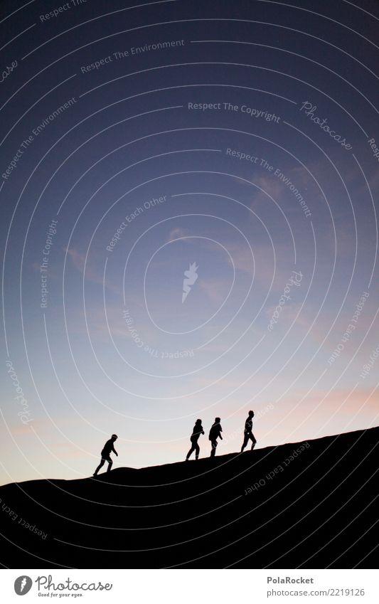 #A# dark walk Kunst Kunstwerk Gemälde ästhetisch Silhouette 4 Sahara Abenteuer Surrealismus wandern Außenaufnahme Menschengruppe fantastisch Farbfoto