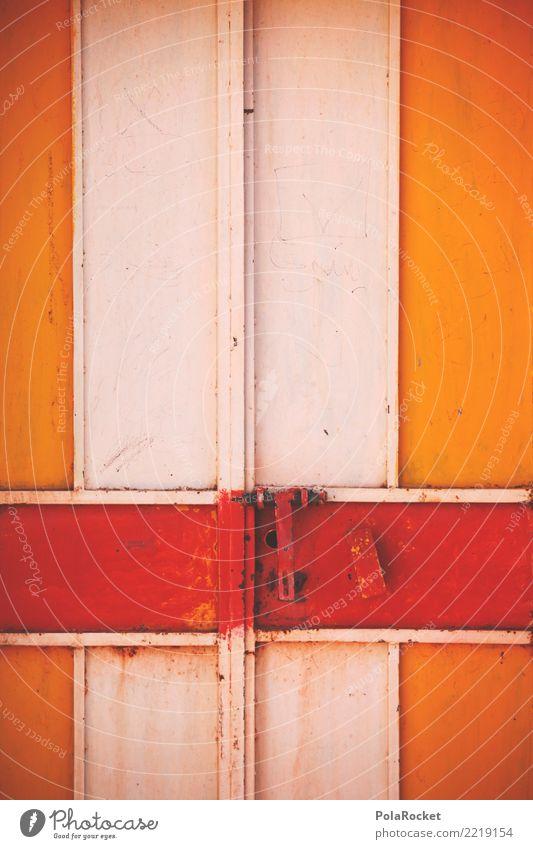 #A# Torrost Tür ästhetisch Türschloss geschlossen rot orange Farbfoto mehrfarbig Außenaufnahme Detailaufnahme Experiment Menschenleer Textfreiraum links