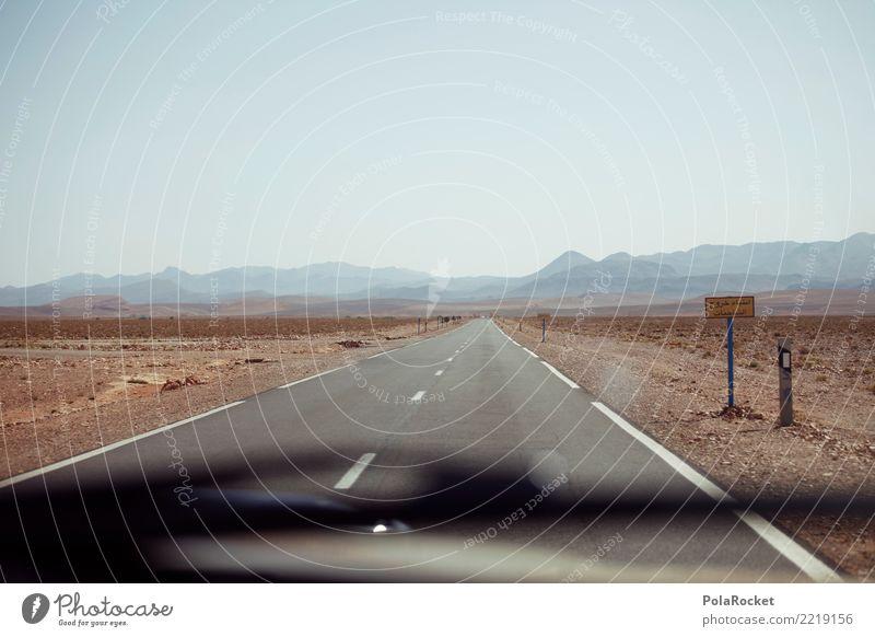 #A# geradeaus Straße Kunst ästhetisch Wüste Autobahn Straßenbelag Marokko Brachland Wüstenpiste Wüstenpflanze
