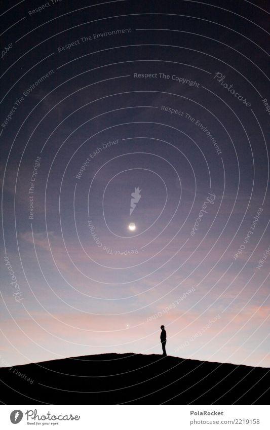 #A# Mann am Mond Einsamkeit Kunst ästhetisch fantastisch Wüste Surrealismus Kunstwerk mystisch Mondschein Sahara Mondsüchtig Mondlandschaft Mondaufgang