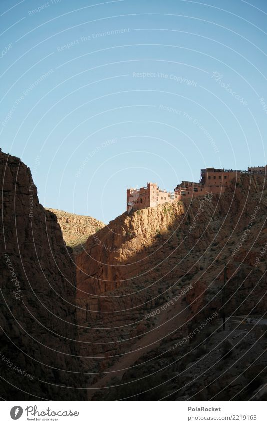 #A# Hotel Am Ende der Welt Umwelt ästhetisch Felsen Marokko Burg oder Schloss Festung steinig Himmel Arabien Naher und Mittlerer Osten Farbfoto mehrfarbig