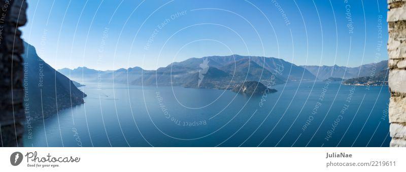 Blick auf die Halbinsel Bellagio am Comer See Ferien & Urlaub & Reisen Insel Wasser Wolkenloser Himmel Nebel blau lago di como ausblick Panorama (Bildformat)