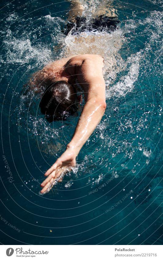 #A# Wassersport Kunst Kunstwerk ästhetisch Schwimmsportler Schwimmer (Angeln) Schwimmen & Baden Mann Kraft Energie Gleichgewicht Kraulstil schwimmen Farbfoto