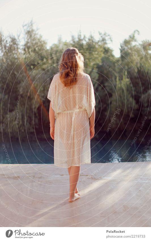 #A# Girl at the Pool Frau feminin Kunst Mode ästhetisch Kleid zart Schwimmbad Gesäß durchsichtig Barfuß edel dezent Photo-Shooting