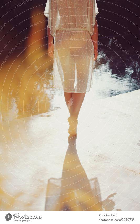 #A# Golden Girl Erholung Einsamkeit Kunst Mode elegant ästhetisch laufen fantastisch zart Schwimmbad Model durchsichtig Surrealismus Kunstwerk Dekadenz