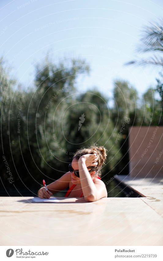 #A# Tag am Pool 1 Mensch ästhetisch Frau schreiben schreibend Post Postkarte Schwimmbad Ferien & Urlaub & Reisen Urlaubsfoto Urlaubsstimmung Urlaubsort