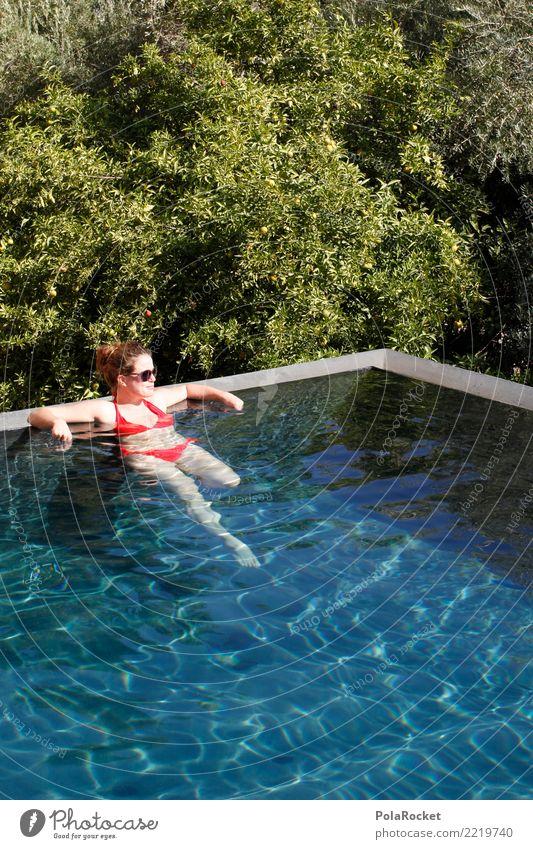 #A# chillin' Frau Mensch Ferien & Urlaub & Reisen blau Sommer Erholung Reisefotografie Wellness Sommerurlaub Schwimmbad Kitsch Fernweh Bikini Urlaubsfoto