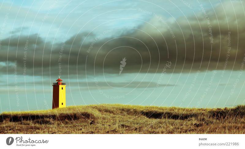 Lichtblick Umwelt Natur Landschaft Himmel Wolken Gewitterwolken Horizont Klima Wetter Hügel Küste Leuchtturm leuchten fantastisch Düne Island Seezeichen