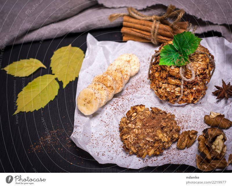 Kekse aus Haferflocken Dessert Süßwaren Ernährung Frühstück Mittagessen Diät Kakao Tisch Holz lecker natürlich braun weiß Energie Tradition Korn Mahlzeit ganz