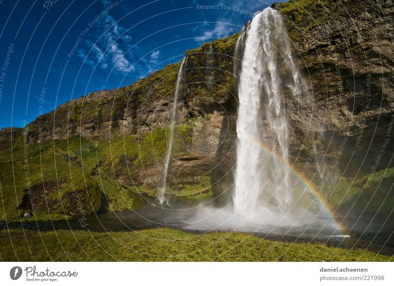 Frau Schiffner, schau mal !! Ferien & Urlaub & Reisen Umwelt Natur Landschaft Wasser Wasserfall blau grün Island Regenbogen Licht Sonnenlicht natürlich Felswand