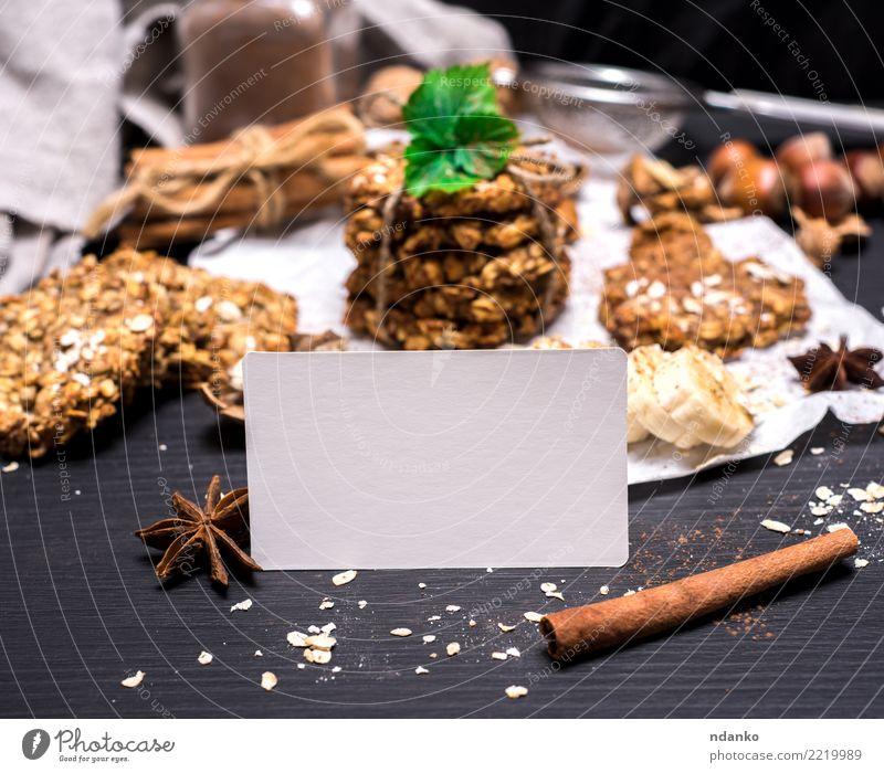 Haferkekse und Zutaten weiß schwarz Essen gelb Holz braun Ernährung Energie Postkarte Frühstück Tradition Dessert Backwaren Essen zubereiten Diät