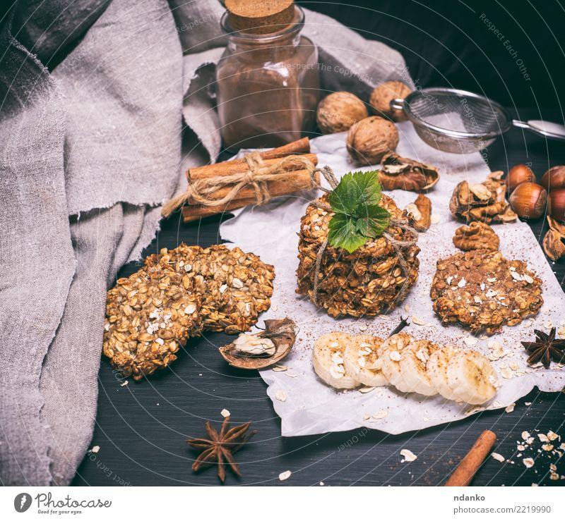 Haferflocken Kekse Lebensmittel Frucht Dessert Ernährung Frühstück Diät Essen lecker natürlich braun weiß Energie Tradition Biskuit Müsli Hintergrund Gesundheit