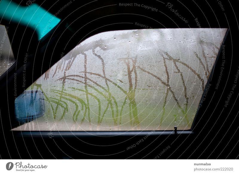 nicht mit dem Rad . . . Autofenster Rückspiegel Umwelt Wasser Wassertropfen Klima schlechtes Wetter Regen Verkehrsmittel Personenverkehr Autofahren dunkel nass