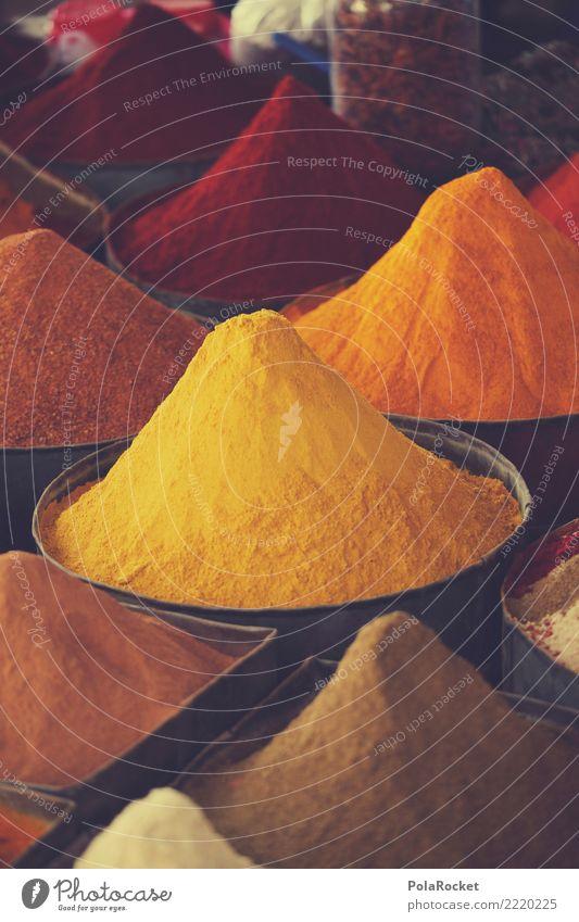 #A# Gelb-Orange Kräuter & Gewürze Ernährung ästhetisch Gewürzladen Curry Arabien Naher und Mittlerer Osten viele Auswahl Marrakesch Marokko Farbfoto