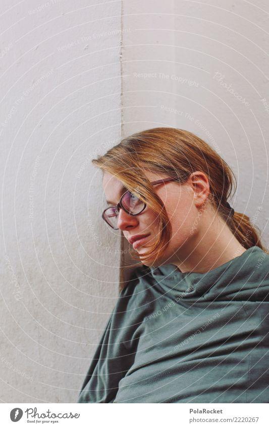 #A# verträumt Mensch feminin 1 ästhetisch nachdenklich Haarsträhne Brille hören Junge Frau Mauer Betonmauer anlehnen ruhig warten Oberkörper Farbfoto