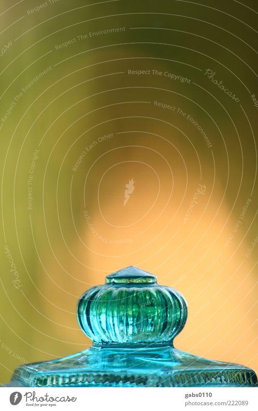 Glasnippel grün blau gelb glänzend Glas Dekoration & Verzierung Häusliches Leben türkis durchsichtig Tiefenschärfe Griff Verschlussdeckel aufbewahren Glasbehälter