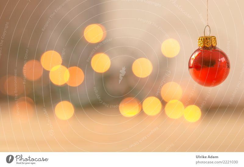 Rote Weihnachtskugel Weihnachten & Advent rot Erholung ruhig Winter gelb Feste & Feiern leuchten Dekoration & Verzierung glänzend elegant Glas Fröhlichkeit