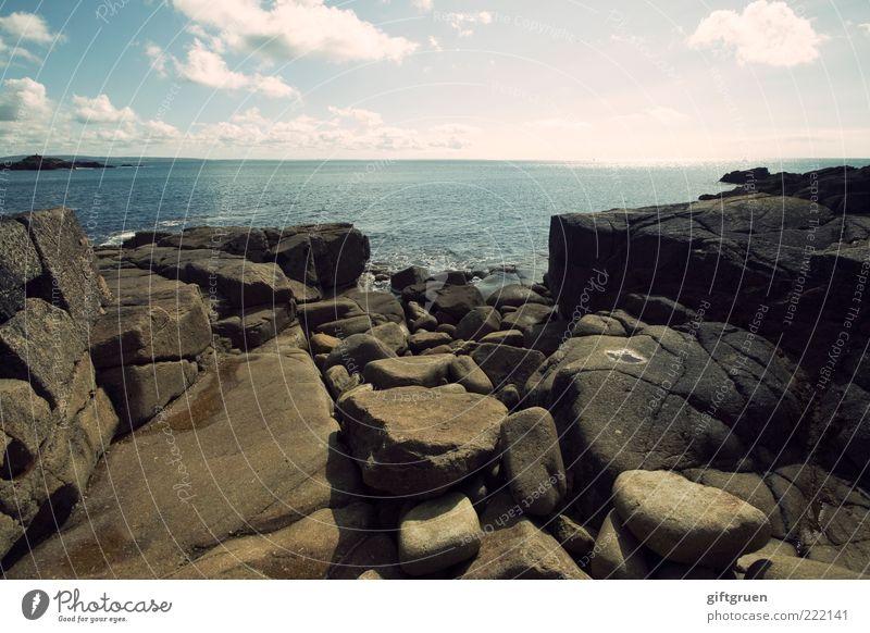 an ocean and a rock is nothing to me Umwelt Natur Landschaft Urelemente Wasser Himmel Wolken Horizont Wetter Schönes Wetter Felsen Küste Strand Meer Insel