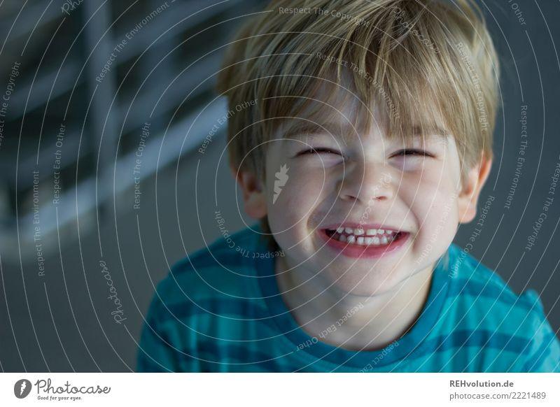 Junge lacht in die Kamera Mensch maskulin Kind Kleinkind Kopf Gesicht 1 1-3 Jahre 3-8 Jahre Kindheit Lächeln lachen authentisch frech Fröhlichkeit Glück klein