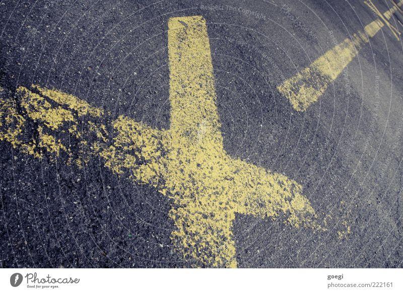 crossroads Straße Zeichen Verkehrszeichen Kreuz Linie gelb grau Verbote Halteverbot Parkverbot Farbfoto Außenaufnahme Menschenleer Tag Fahrbahnmarkierung